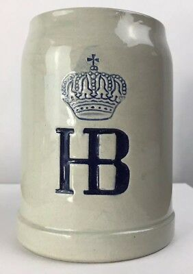 HB Hofbrauhaus Salt Glazed Stoneware Beer Mug Stein 0.5L Germany NO CHIPS VTG