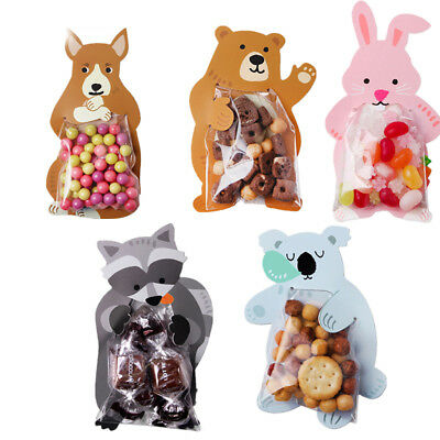 10Pcs Cute Animal Candy Bag Card Cookie Opp Bag Baby Shower Birthday Party Decor