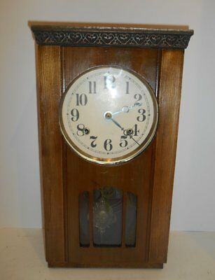 Antique 8 Day Asian Japanese Wall Clock Gong Strike Cherry Wood 1900s Works