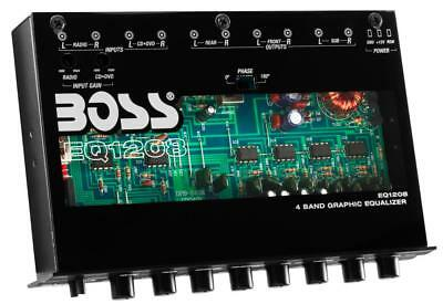 Boss EQ1208 4-Band Graphic Equalizer with Gold Plated RCA Inputs and Outputs
