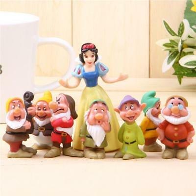 8pcs/Set Snow White and the Seven Dwarfs Figures Cake Topper Doll Playset UK