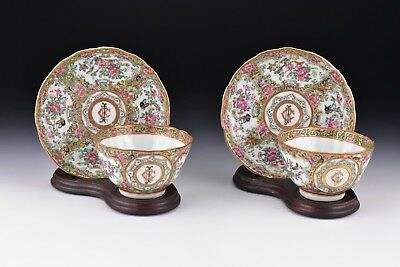 Pair Chinese Export Famille Porcelain Cup Saucers Monogram of Charles Bonaparte