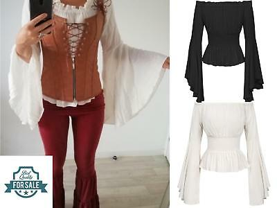 Women Renaissance Costume Blouse Medieval Pirate Wench Bohemian Gothic Victorian