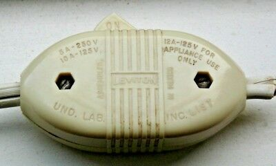 Vintage Original LEVITON IVORY COLOR  In-line Snap Rocker  On/Off Switch