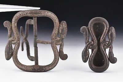 18th / 19th Century  Figural Snake Belt Buckles  Signed With Gold Inlay