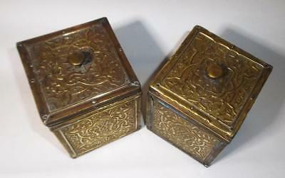 2 Antique Victorian Tea Caddy Anglo Indian Art Nouveau Brass Box Arts & Crafts