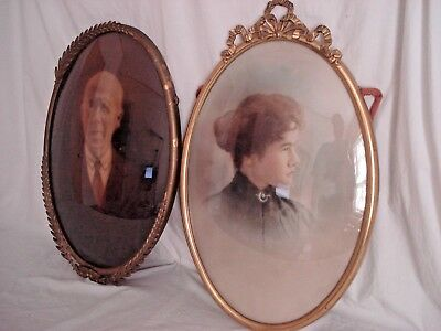 Lot Of Two 14X20 Antique Oval Bubble Glass Metal Frames With Pics Nr