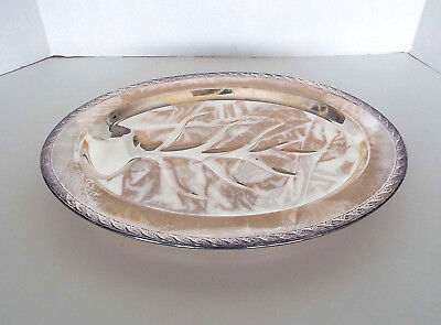 ROGERS SILVERPLATED PLATTER Oval Footed Vintage Holloware Spring Flower NOS