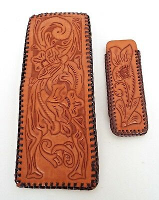 TOOLED LEATHER BILLFOLD Western Rockabilly Vintage Wallet Pen Comb Case