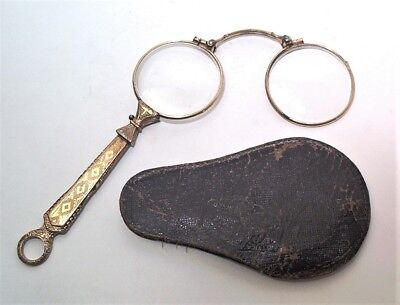 1800s RESTANI ( LUNG' ARNO MEDICEO PISA ITALY ) FANCY YELLOW GF LORGNETTE & CASE