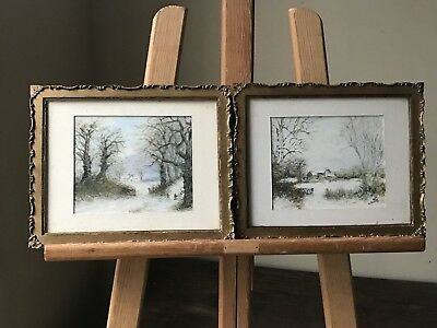 Pair Of Antique Circa Late 19th Century Watercolours Of Winter Woodland Scene
