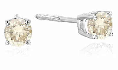 1/3 CT AGS Certified Diamond Stud Earrings 14K White Gold (I2-I3 Clarity)