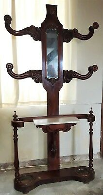 Antique Victorian large hall/hat/coat stand with mirror and umbrella holders