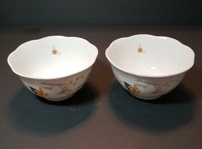 2 Lenox China Butterfly Meadow Rice Or Cereal Bowls