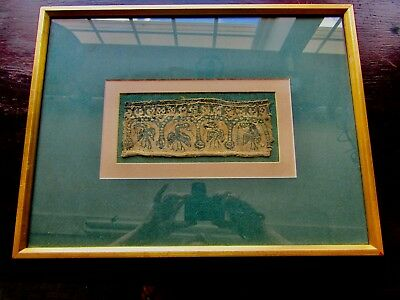 Antique Iranian/persian Made Aprox.  500Bc Glass Framed  Tapestry