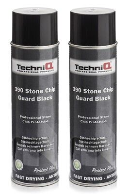 Black Stonechip Stone Chip Paint 500ml Aerosol Anti Corrosion Coating x 2 Cans