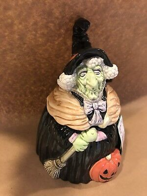 Fitz And Floyd Halloween Green Witch Cookie Jar 1988 Vintage Charming!