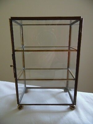 Curio Display Cabinet Small Size Brass and Glass for Bottles, Figurines