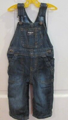 OshKosh B'Gosh Vestbak Baby Boy Vintage Denim Overalls Flannel Lined 12 mos size