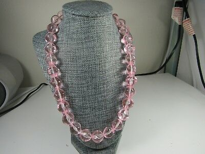 Clear Lucite Nugget Beads Necklace