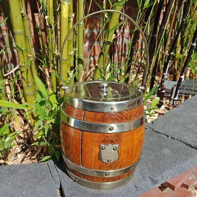 English Vintage Oak Barrel Collectable EPNS Antique Biscuit or Ice Bucket jar.