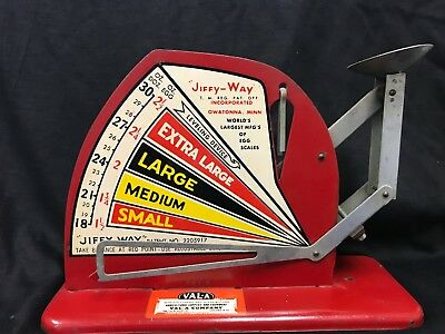 Vintage red egg scale made by Jiffy-Way of Owatonna, MN for the Val-A Co Chicago