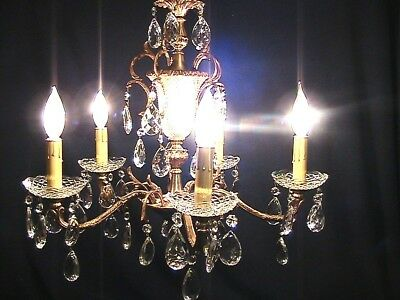 Vintage Mid Century Pineapple Brass Glass Crystal 5 Arm Chandelier