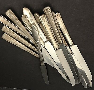 Hollow Handled Silverplate Silverware Vintage Knives Lot Of 17