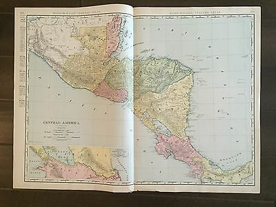 "Large 21"" X 28"" COLOR Rand McNally Map of Central America-(1905)"
