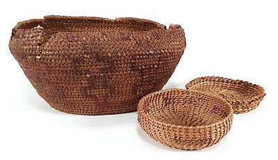 3 Old Native American Indian Woven Baskets Northern California Estate Collection