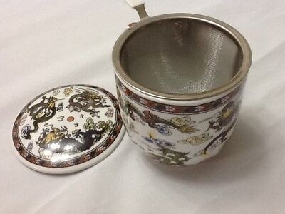 Chinese Porcelain Tea Cup Handled Infuser Strainer with Lid 10 oz  !^^^