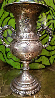 "165 year old SILVER VASE height close to 9"", top diameter  5"" engraved  2 sides"