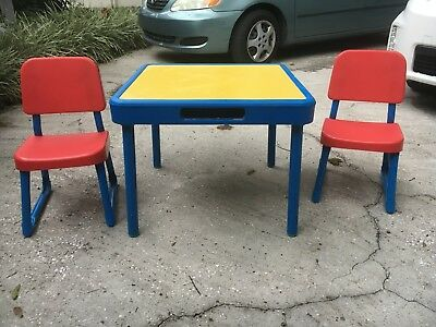 VINTAGE Fisher Price Arts and Crafts Table & Chairs Set CHILD SIZE 1985 RARE