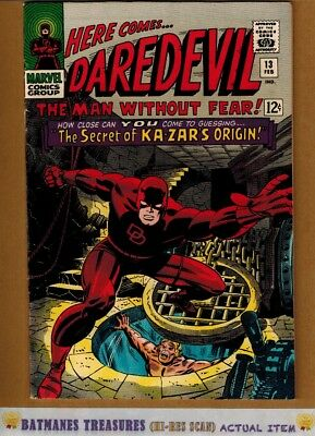 Daredevil #13 (9.0-9.2) NM- Kazar Origin 1966 Silver Age By Stan Lee