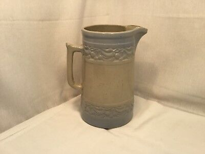 Antique Blue White Stoneware Red Wing Pitcher With Cherry Band
