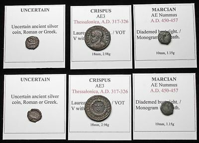 ROMAN IMPERIAL. Lot of 3 coins, Crispus, and Marcian with monogram