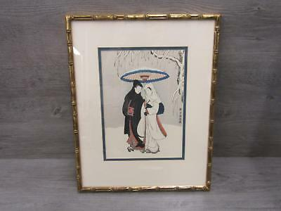 "Japanese Framed Woodblock Print ""Lovers Walking In The Snow"" Wall Art"