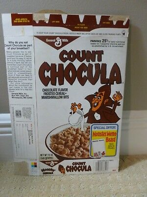 Vintage 1980s 1984 Count Chocula Monster Cereals Cereal Box Halloween time!