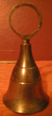 Rare Vintage Solid Brass Bell With Finger Ring