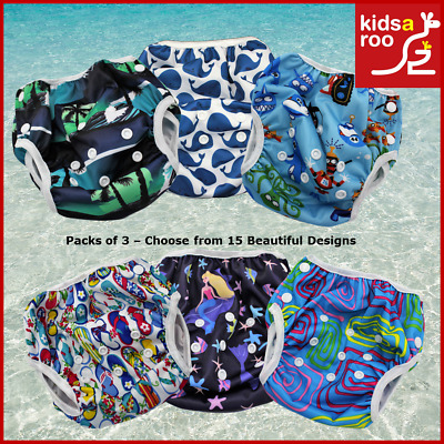 Reusable Adjustable Swim Nappy Baby Toddler Packs of 3 Fast Dry Swimming Nappies