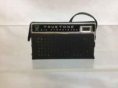 Vintage Truetone Six Transistor AM Pocket Radio Model 6TP-555 Leather Case Japan