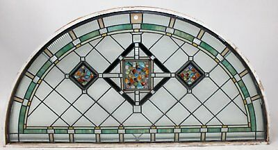 Antique Leaded  Stained Glass Window w Chunk Jewels 6 ft x 3 ft Arched Transom