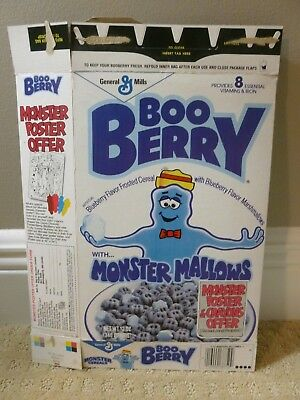 Vintage 1980s 1989 Booberry Boo Berry Monster Poster Cereal Box Halloween time!