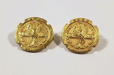 2x Vintage Solid 10K Yellow Gold Bell Systems Long Lines Service Pins 13mm