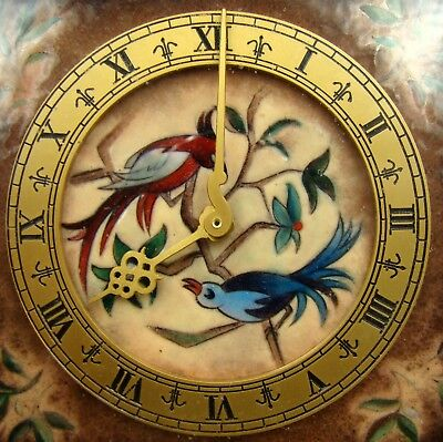 Most Beautiful ART DECO LUXOR 8 Day Square Desk Table Clock Enamel Birds Dial