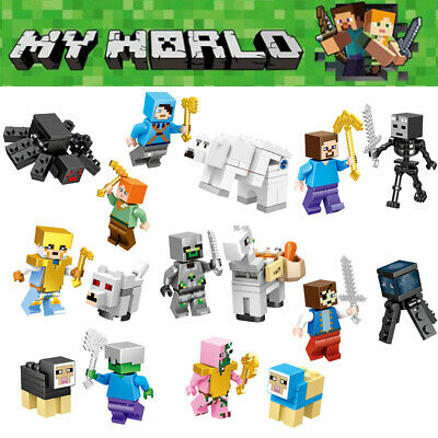 16Pcs Minecraft My World Series Characters Mini Figures Building Blocks Fit Lego