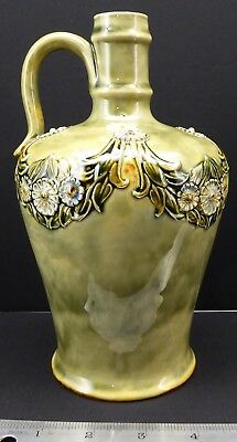 Superb Antique Doulton Lambeth  Stoneware Flagon Jug Victorian English Signed