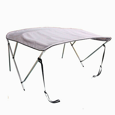 "3 Bow Bimini Top Boat Tent Cover Gray 61""-66"" Wide 6' Long 600D Aluminum Frame"