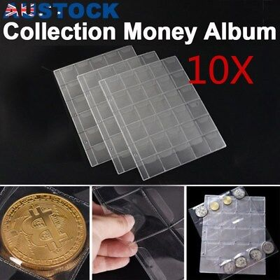 10 x 30 Pockets Coin Holders Folder Pages Sheets For Collection Album Storage AU
