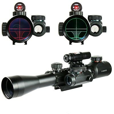 Hunting 3-9x40 EG Optics Pistol Scope W/Red Laser+Holographic Dot Sight Mount